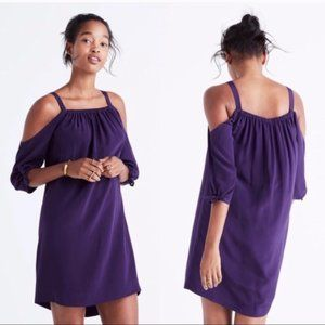 Madewell Silk Purple Cold Shoulder Tie Dress